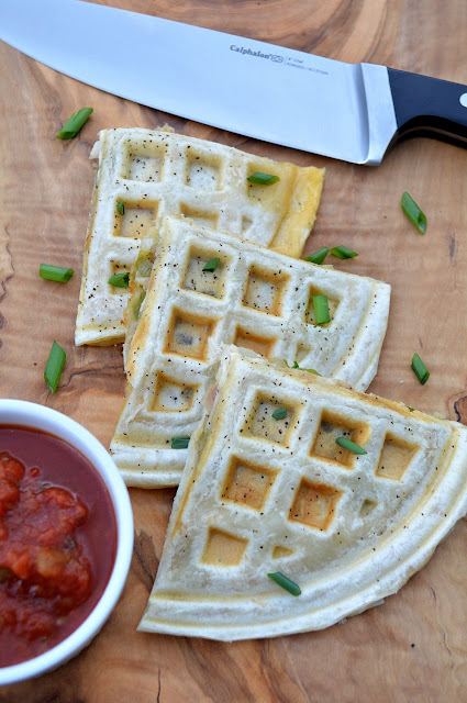 Easy Chicken & Cheese Quesadillas Made In A Waffle Iron