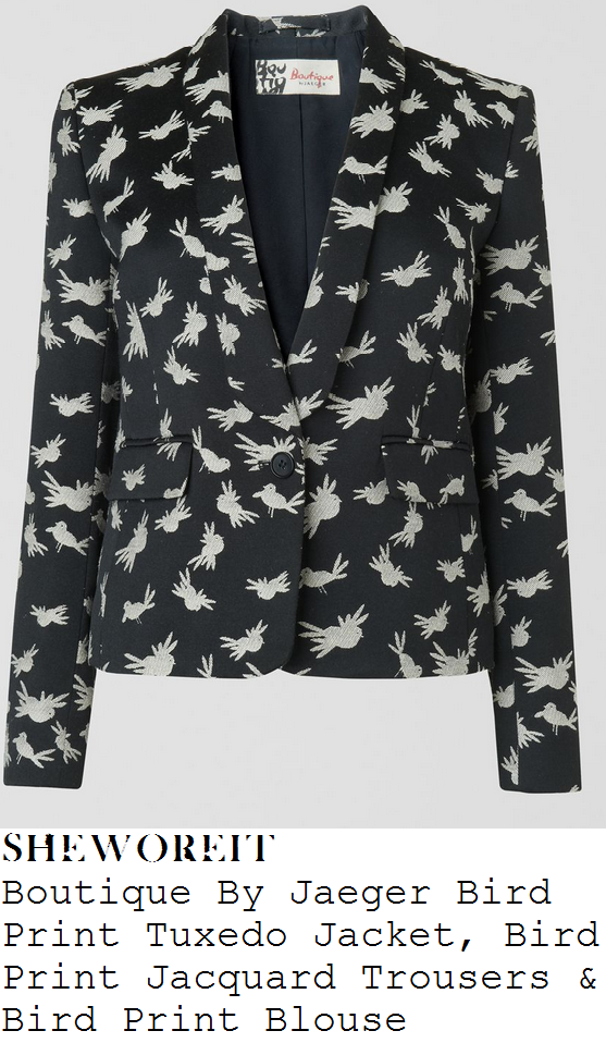 sarah-harding-black-and-white-monochrome-bird-print-blazer-jacket-trousers-suit-and-collared-shirt-blouse-instyle-pre-bafta-party