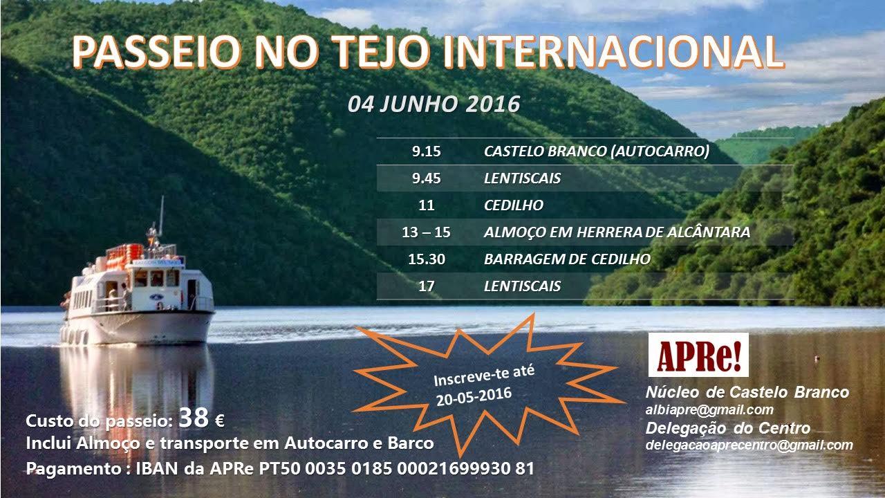 O Núcleo APRe! de Castelo Branco, organiza um passeio de barco no Tejo internacional