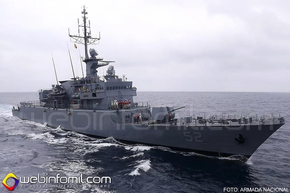La Fragata Misilera ARC Caldas navega rumbo hacia Chile, con la misión de participar en los Ejercicios Unitas 2015.