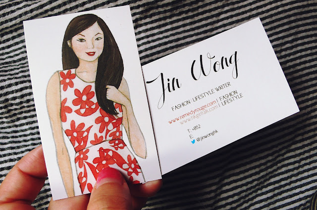 HK Girl Talk Jin Wong watercolour portrait business card