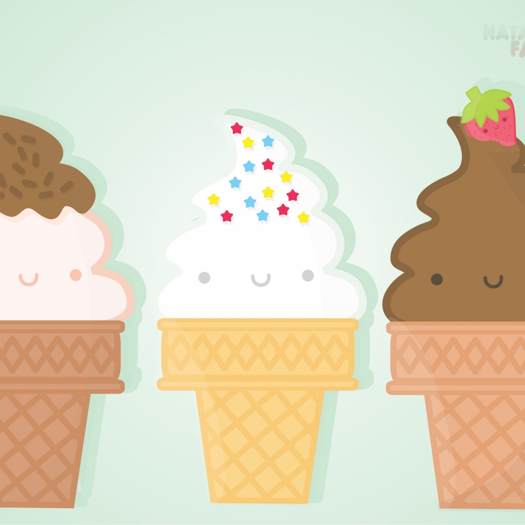 Melting Ice Cream Simple Wallpaper Designs: Print To Pixel: Kawaii Ice Cream