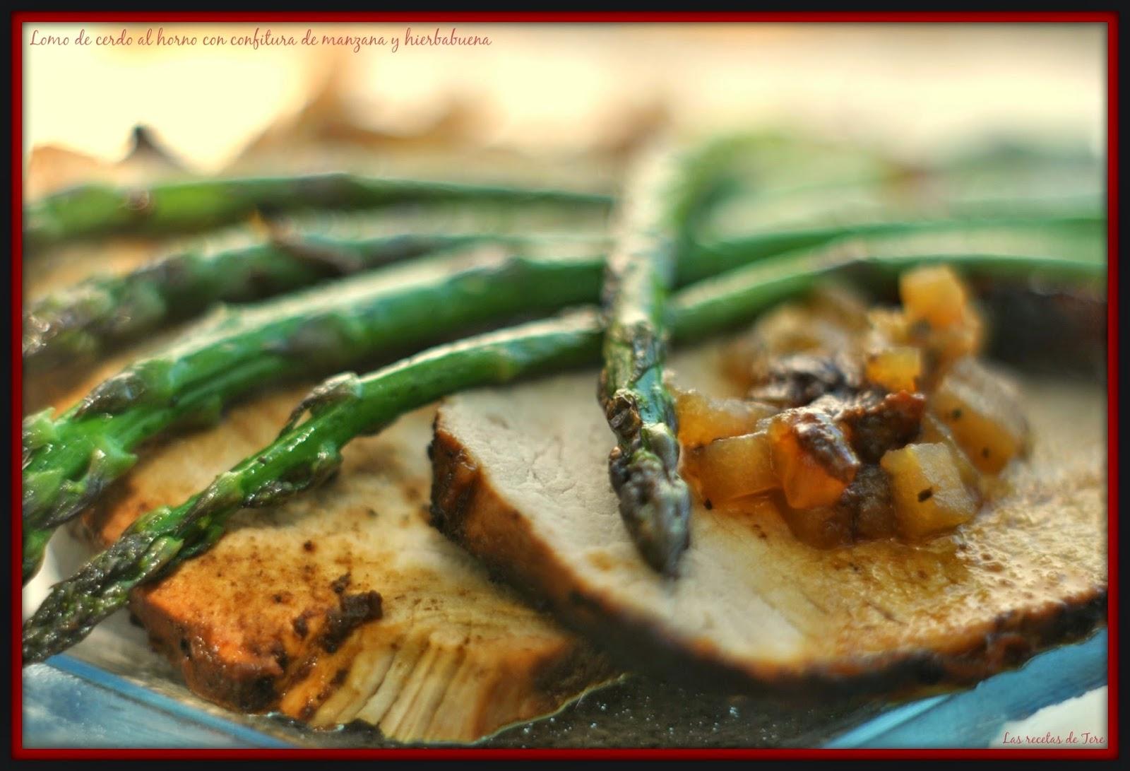 Lomo de cerdo al horno con confitura de manzana y hierbabuena 07