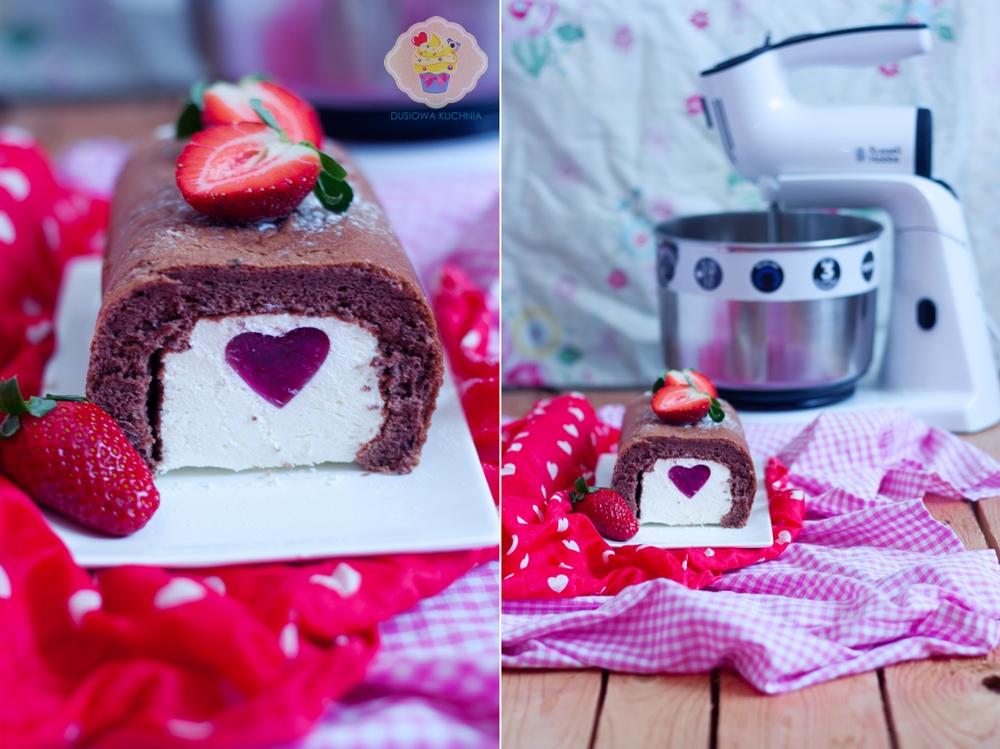 ciasto z sercem, ciasto walentynki, rolada z serce, rolada walentynkowa, mikser russell hobbs