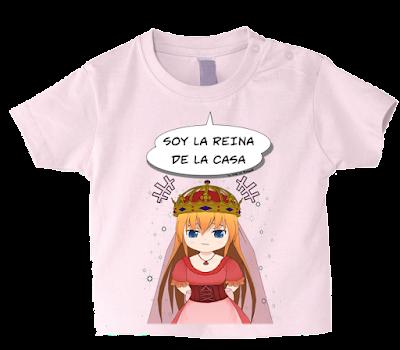 """Camiseta manga corta para bebé """"La reina de la casa"""" color rosa"""
