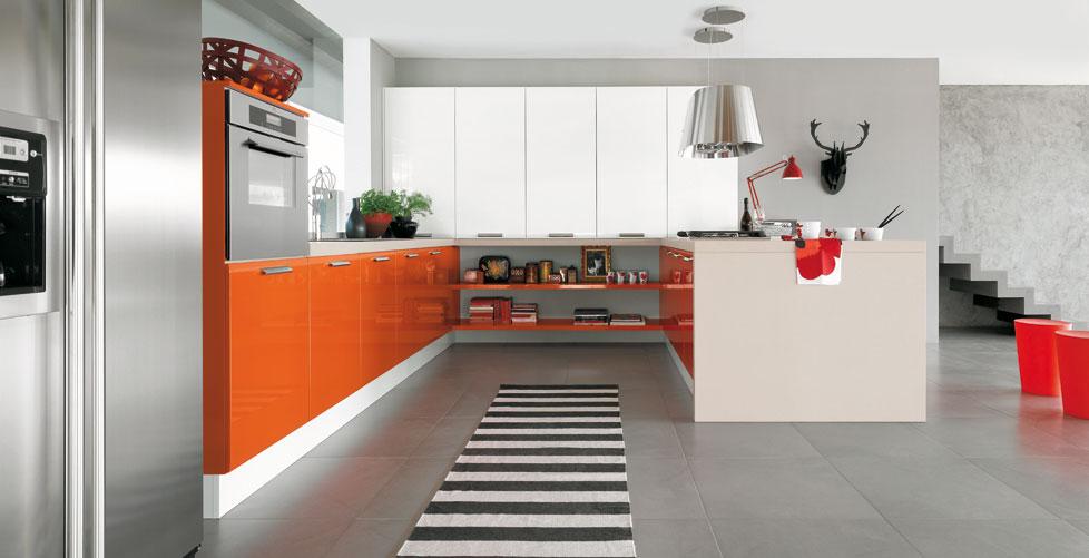 Dise os para gente atrevida cocinas con estilo - Cocina blanca y naranja ...