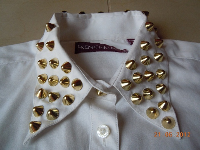 DIY, stud, studded, collar, white, shirt, gold, cone