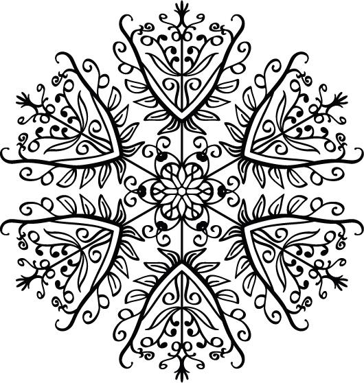 снежинки картинки черно белые