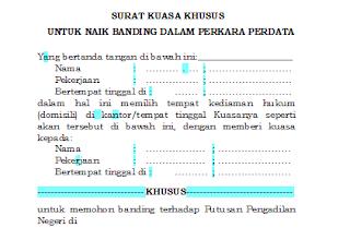 Contoh Surat Kuasa Khusus untuk Naik Banding dalam Perkara Perdata