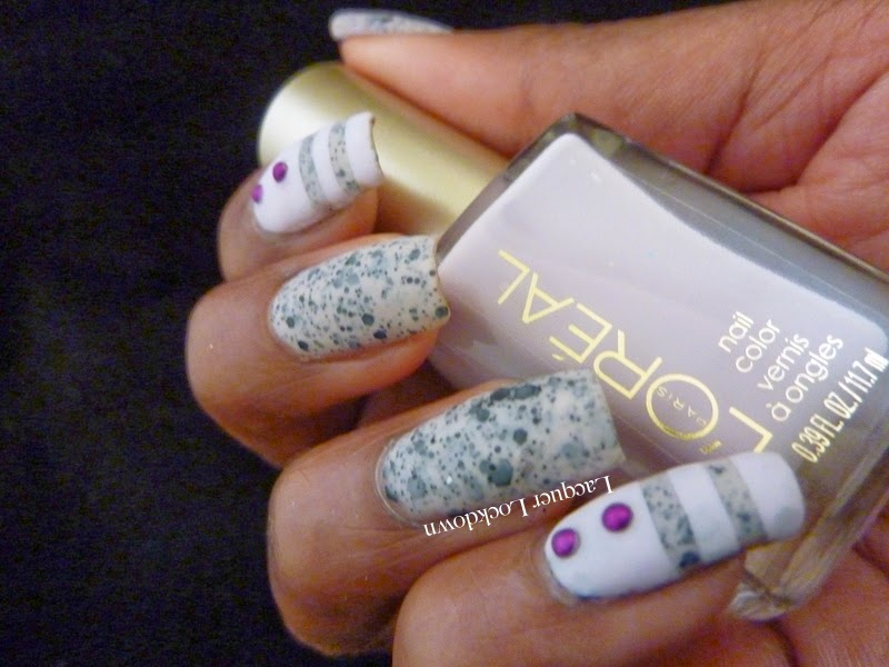 Lacquer Lockdown - L'Oreal, L'Oreal Le Pastille, L'Oreal Sweet Lilac, L'Oreal Spring 2014,  nail vinyls, @teismom, spring nail art, spring nails, diy nails, diy nail art, cute nails, cute nail art ideas, matte nails, studs, pueen studs