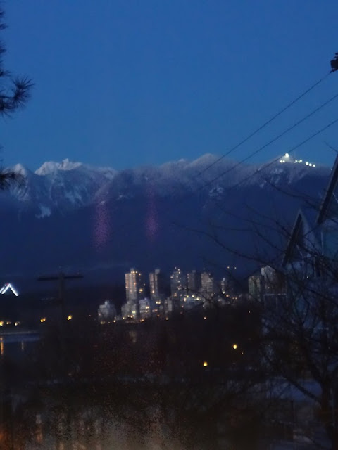 night view of downtown vancouver from kitsilano