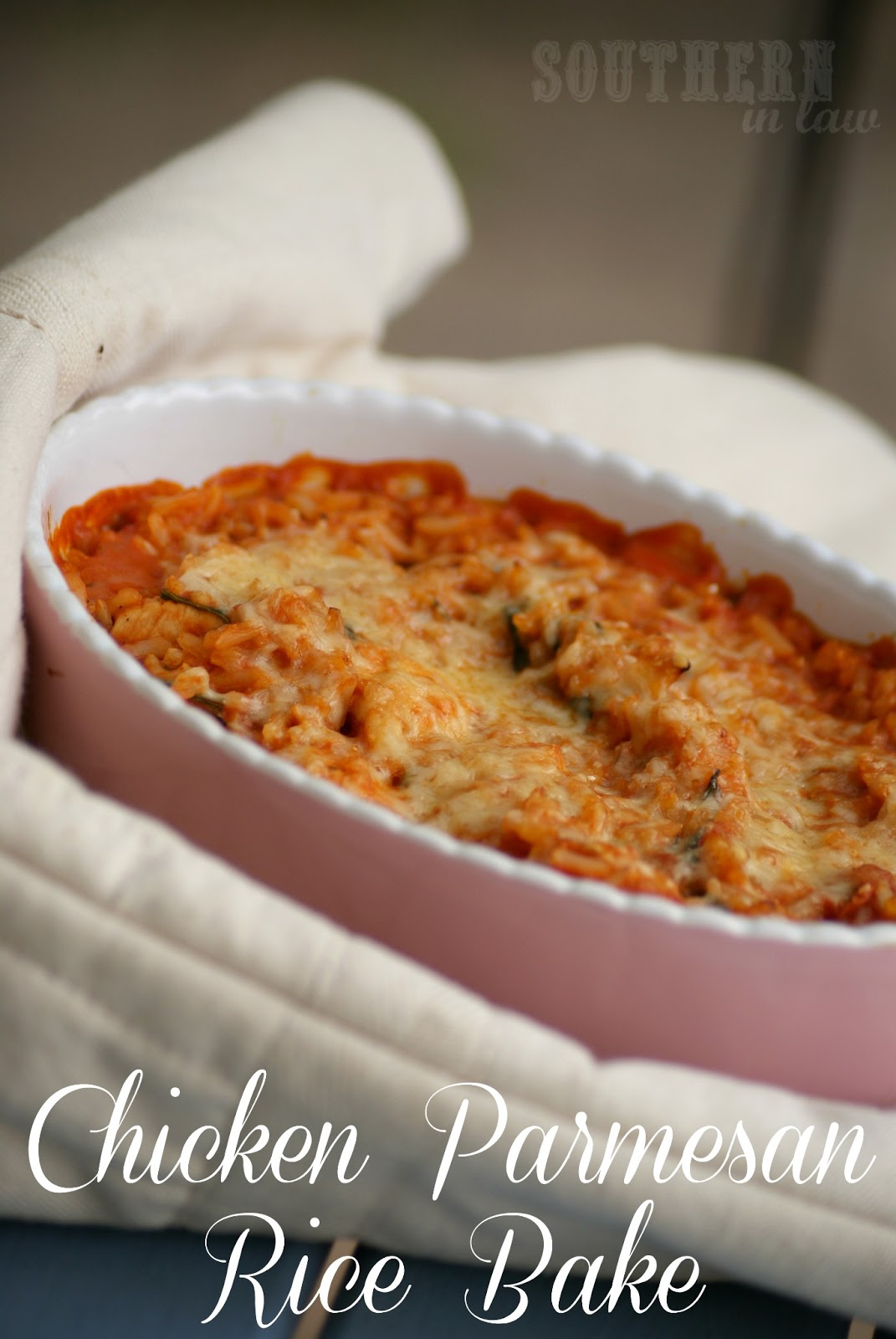 Chicken Parmesan Rice Bake serves one, easily multiplied