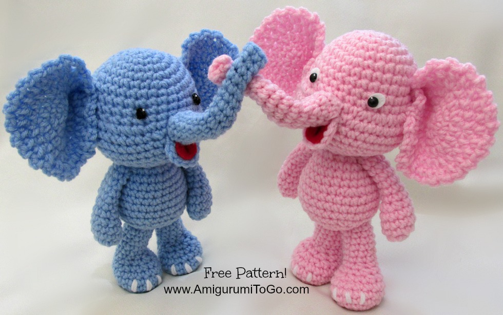 Free Amigurumi Patterns Online : Little Bigfoot Elephant Video and Pattern ~ Amigurumi To Go
