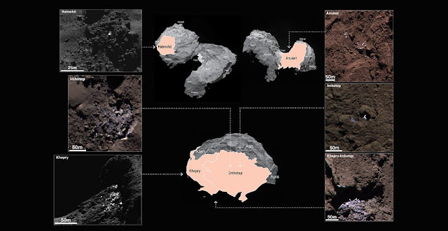 Examples of six different bright patches identified on the surface of Comet 67P/Churyumov-Gerasimenko in OSIRIS narrow-angle camera images acquired in September 2014. The insets point to the broad regions in which they were discovered (not to specific locations). In total, 120 bright regions, including clusters of bright features, isolated features and individual boulders, were identified in images acquired during September 2014 when the spacecraft was between 20-50 km from the comet centre.  On the left hand side of the image a boulder with icy patches in Hatmehit (top) a cluster of icy features in Imhotep (middle) and a cluster in Khepry (bottom) is presented; on the right hand side a cluster in Anuket (top), a bright feature in Imhotep (middle) and a cluster close to the Khepry-Imhotep boundary (bottom) is shown. Credit: ESA/Rosetta/MPS for OSIRIS Team MPS/UPD/LAM/IAA/SSO/INTA/UPM/DASP/IDA