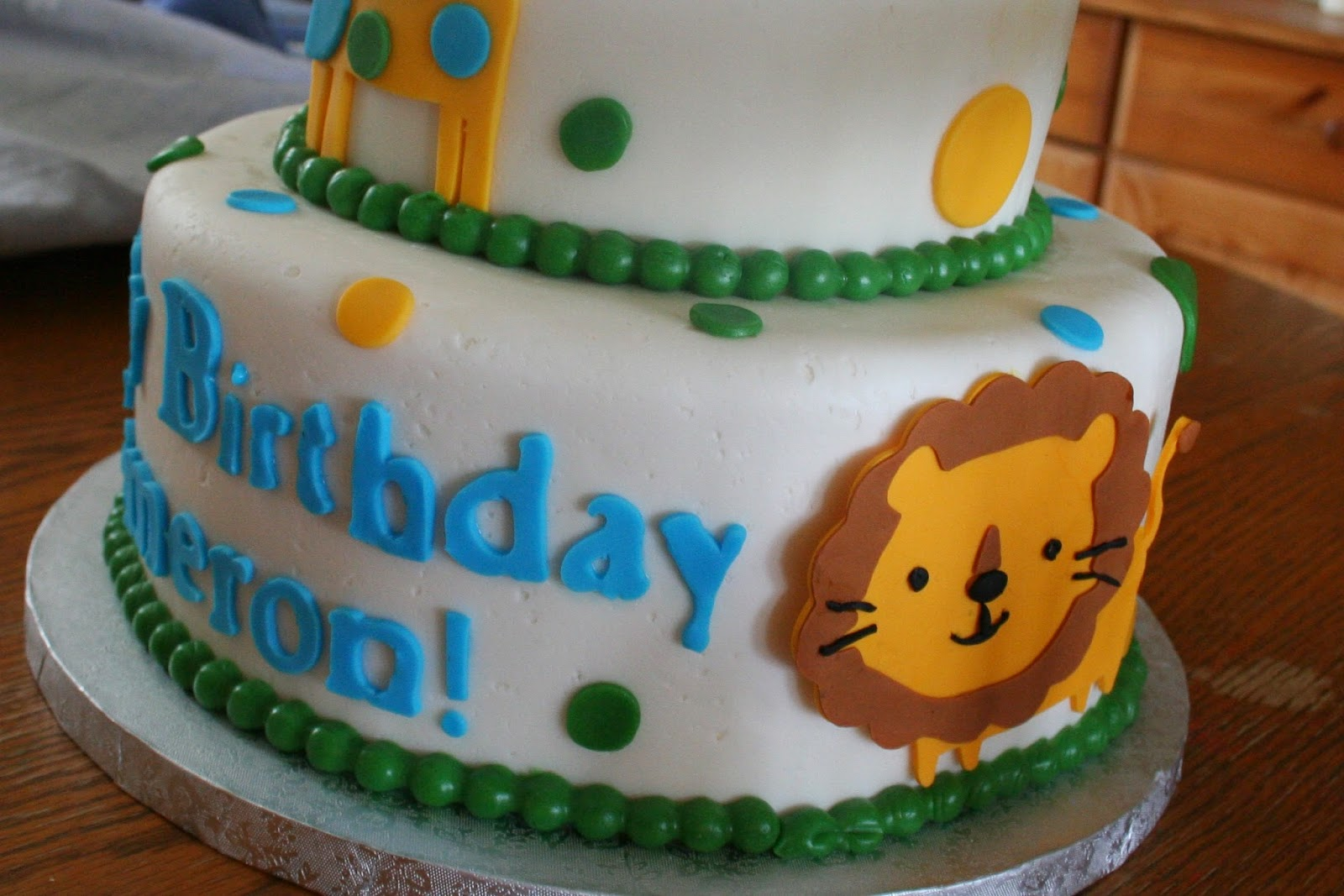 Pink Frosting Bakery Zoo Animals First Birthday Cake