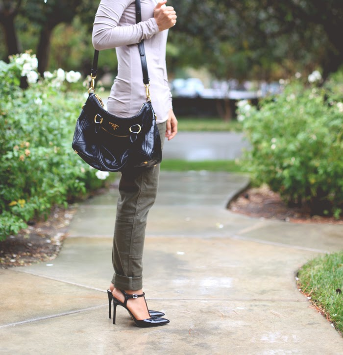 Stephanie Liu of Honey & Silk wearing Prada, Shoemint, and Rich & Skinny