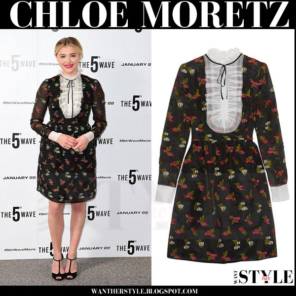 Chloe Moretz in black printed bib mini dress erdem katy what she wore red carpet