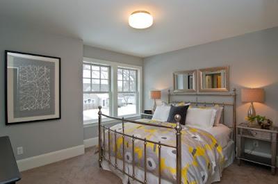 diseño dormitorio gris amarillo