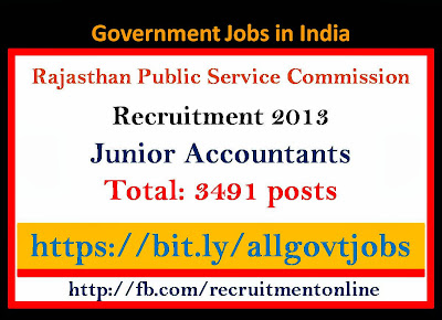 RPSC Recruitment 2013 for Junior Accountants Jobs on 3491 posts
