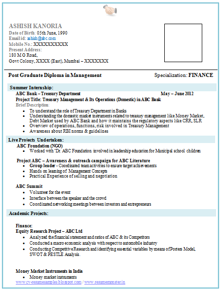 Over 10000 cv and resume samples with free download mba finance fresher resume template for Resume templates for freshers