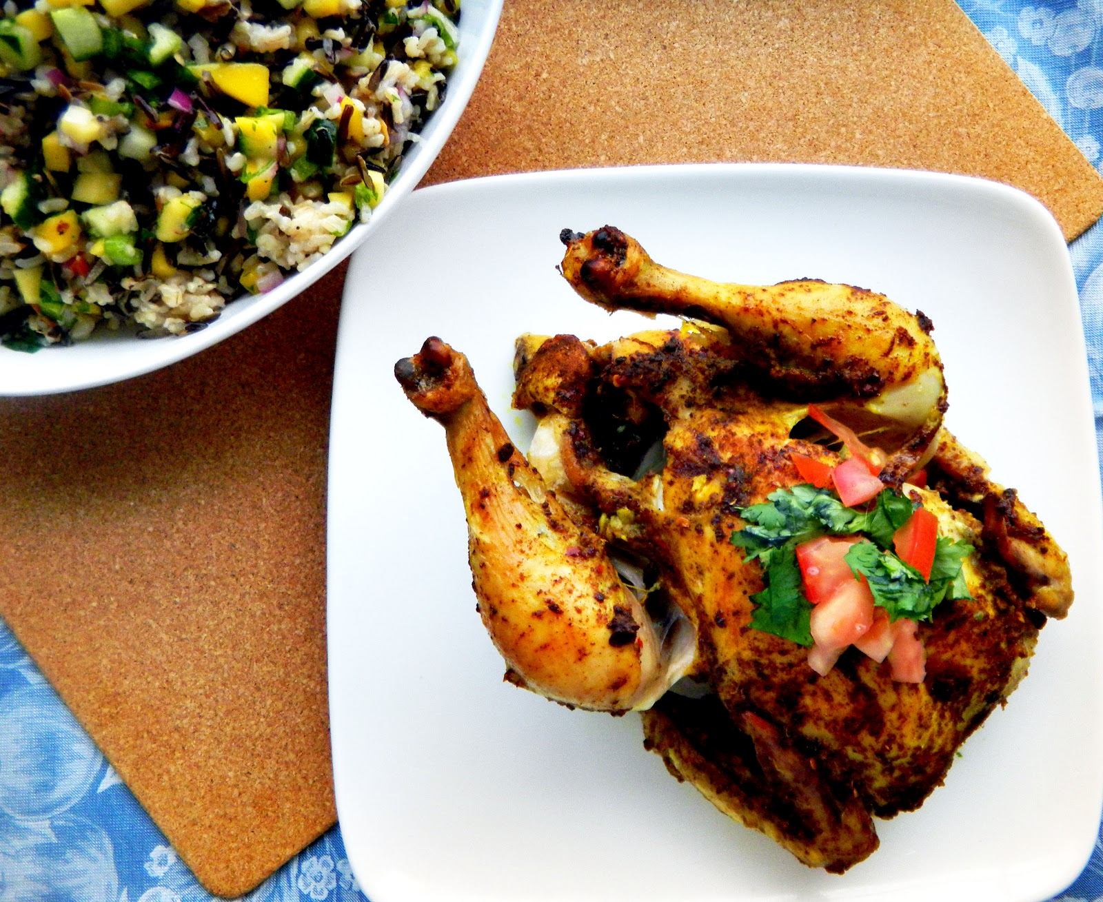 ... roasted chicken with tomato yogurt sauce and mango cucumber rice salad