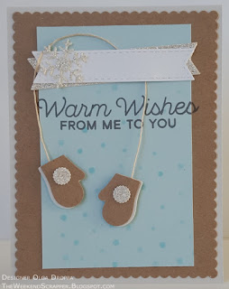 Winter card with MFT Warm and Fuzzy mittens die and snowflake