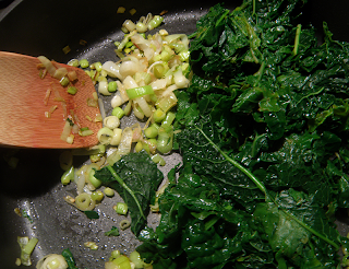 Kale, green Garlic, and Leeks in Saute Pan