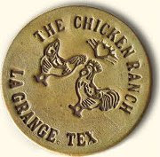 La Grange Chicken Ranch brass token (fake)