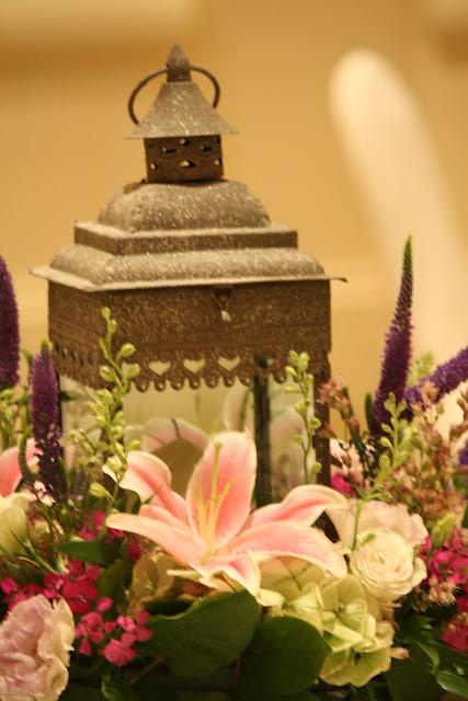 Splendid Stems Event Florals - Wedding Centerpiece with Candle Lantern - Hilton Hotel Albany Crowne Plaza