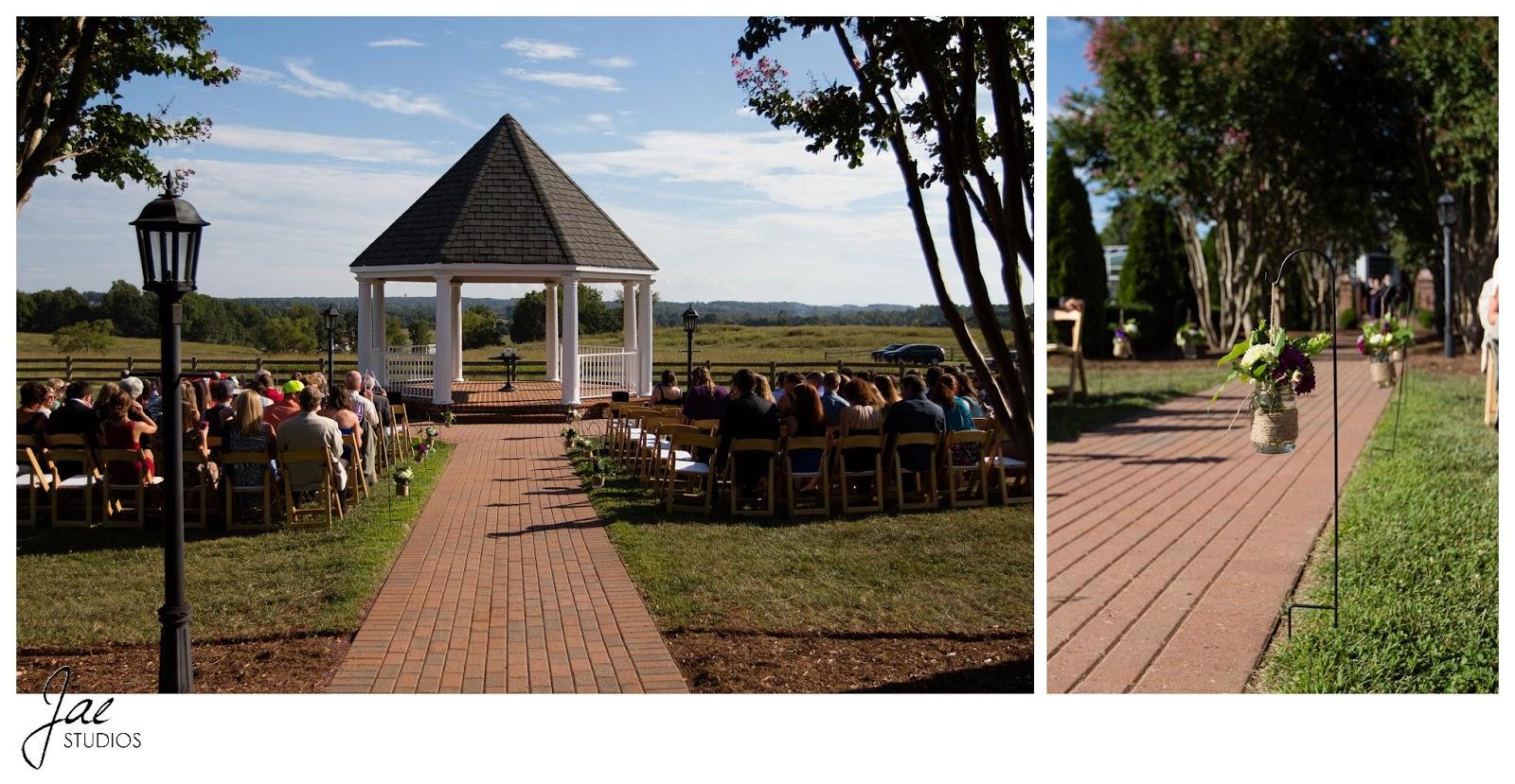 Jonathan and Julie, Bird cage, West Manor Estate, Wedding, Lynchburg, Virginia, Jae Studios, ceremony, scenery, gazebo, guests, flowers, purple