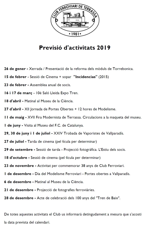 Previsió d'activitats pel 2019 - Actualització del 7-FEB-2019