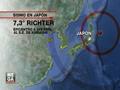 Epicentro terremoto de 7,3 grados en Japón, 07 de Diciembre 2012