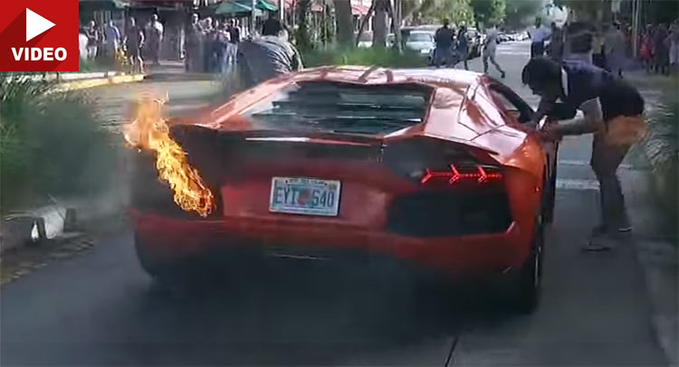 Valet Sets Lamborghini Aventador On Fire After Taking It