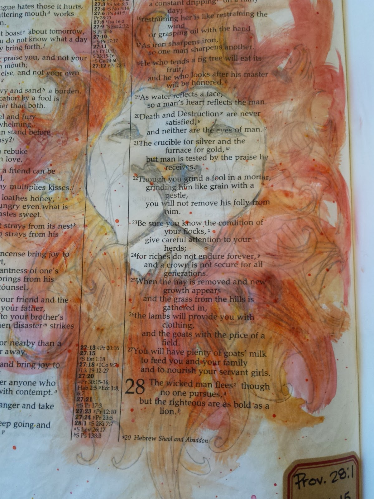 Journaling Bible art for Proverbs 28:1 with a watercolor lion.