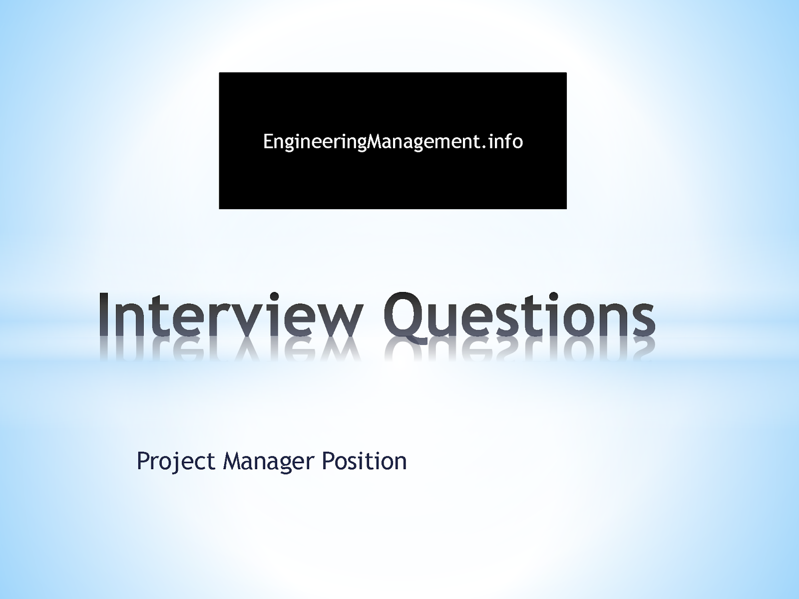 interview questions project manager position