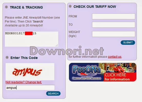 Please enter JNE Airwaybill Number (one Per line)