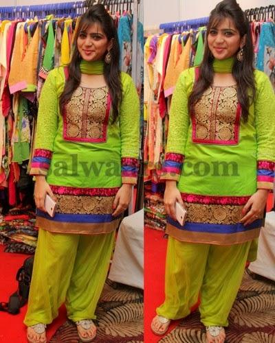 Patiala Style Salwar In Parrot Green
