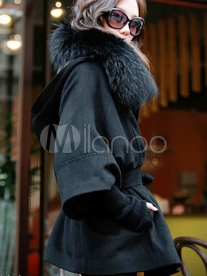 Black Long Sleeves Fox Fur Collar Thin Cashmere Womens Pea Coat