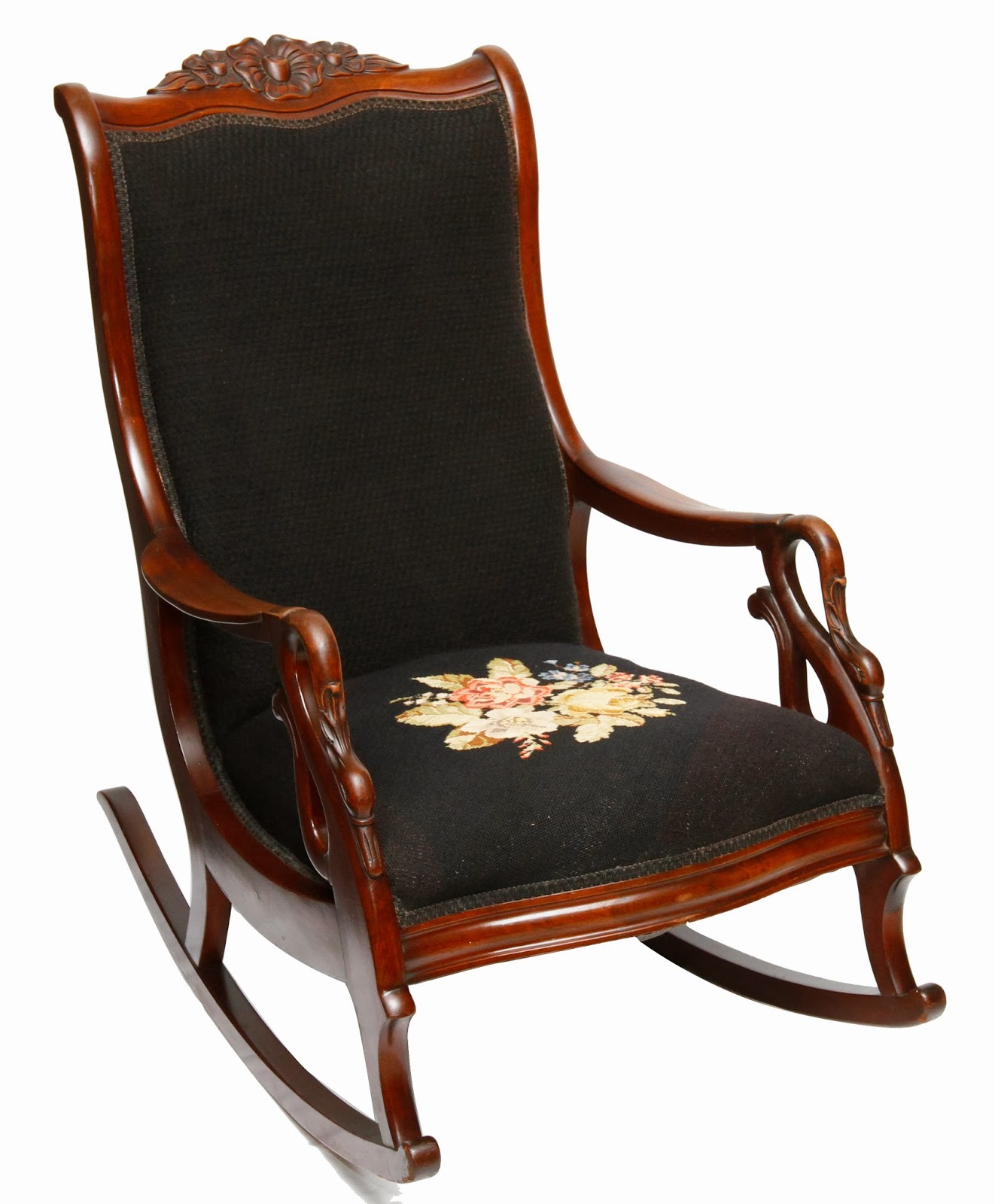 Antique Gooseneck Carved Rocking Chair with Needlepoint Upholstery - Antique Gooseneck Carved Rocking Chair With Needlepoint Upholstery