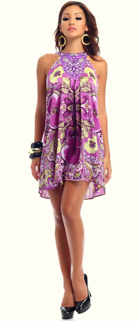Purple Floral Halter Dress