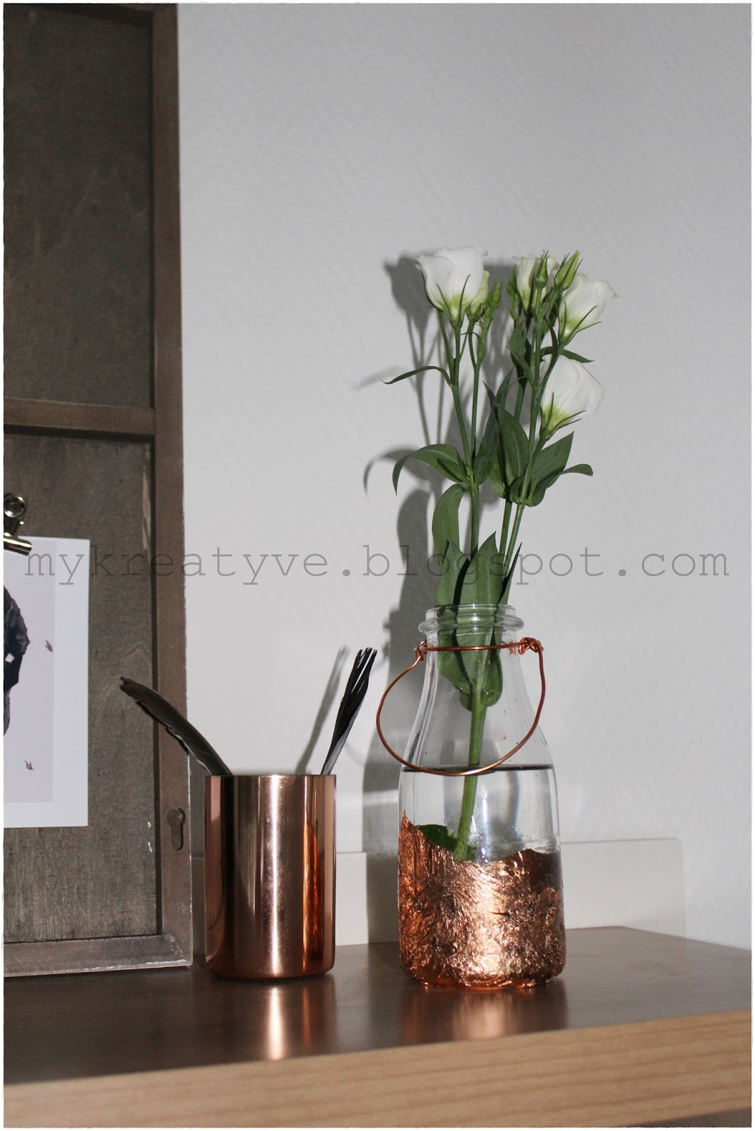 kreatyve diy flaschen vase mit blattkupfer. Black Bedroom Furniture Sets. Home Design Ideas