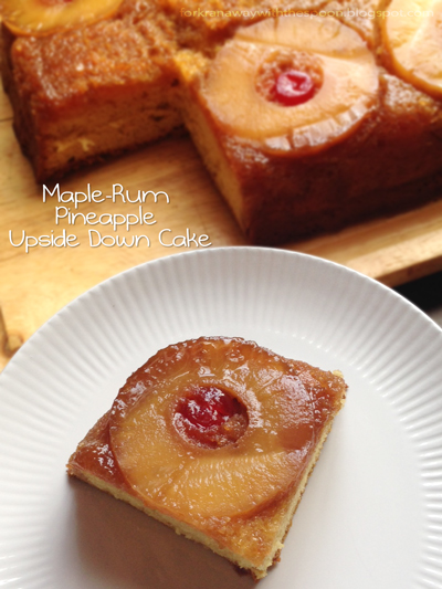 Cake Pineapple Upside Down Rum Maples Dessert