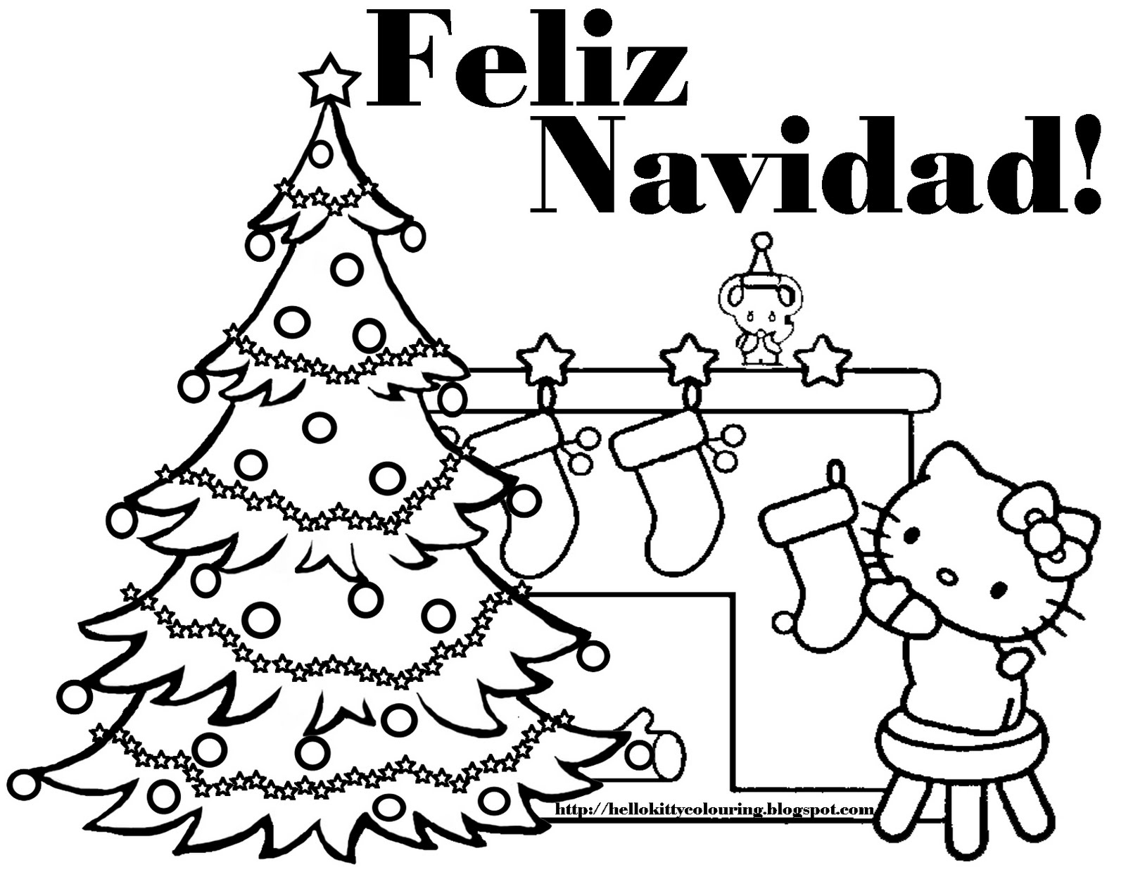feliz navidad coloring pages - hello kitty coloring pages
