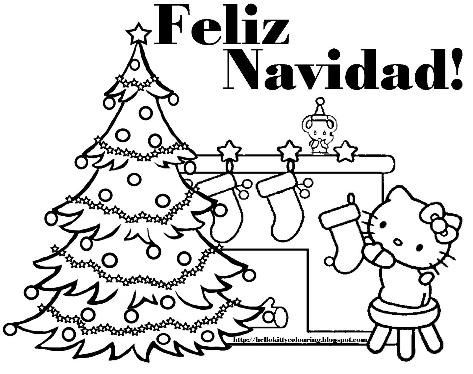 Hello Kitty Espa 241 Ol Feliz Navidad Feliz Navidad Coloring Pages
