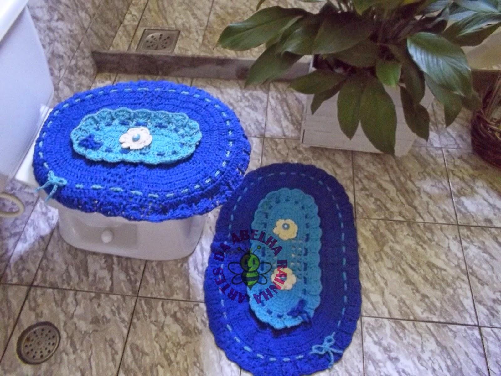 Artes da Abelha Rainha: Jogo de banheiro de crochê em barbante azul #1946B2 1600x1200 Banheiro Com Luz Azul