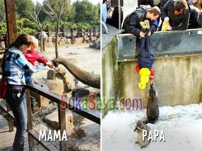 Foto Lucu - Beginilah Cara Mendidik Anak Antara Versi Mama Dan Papa