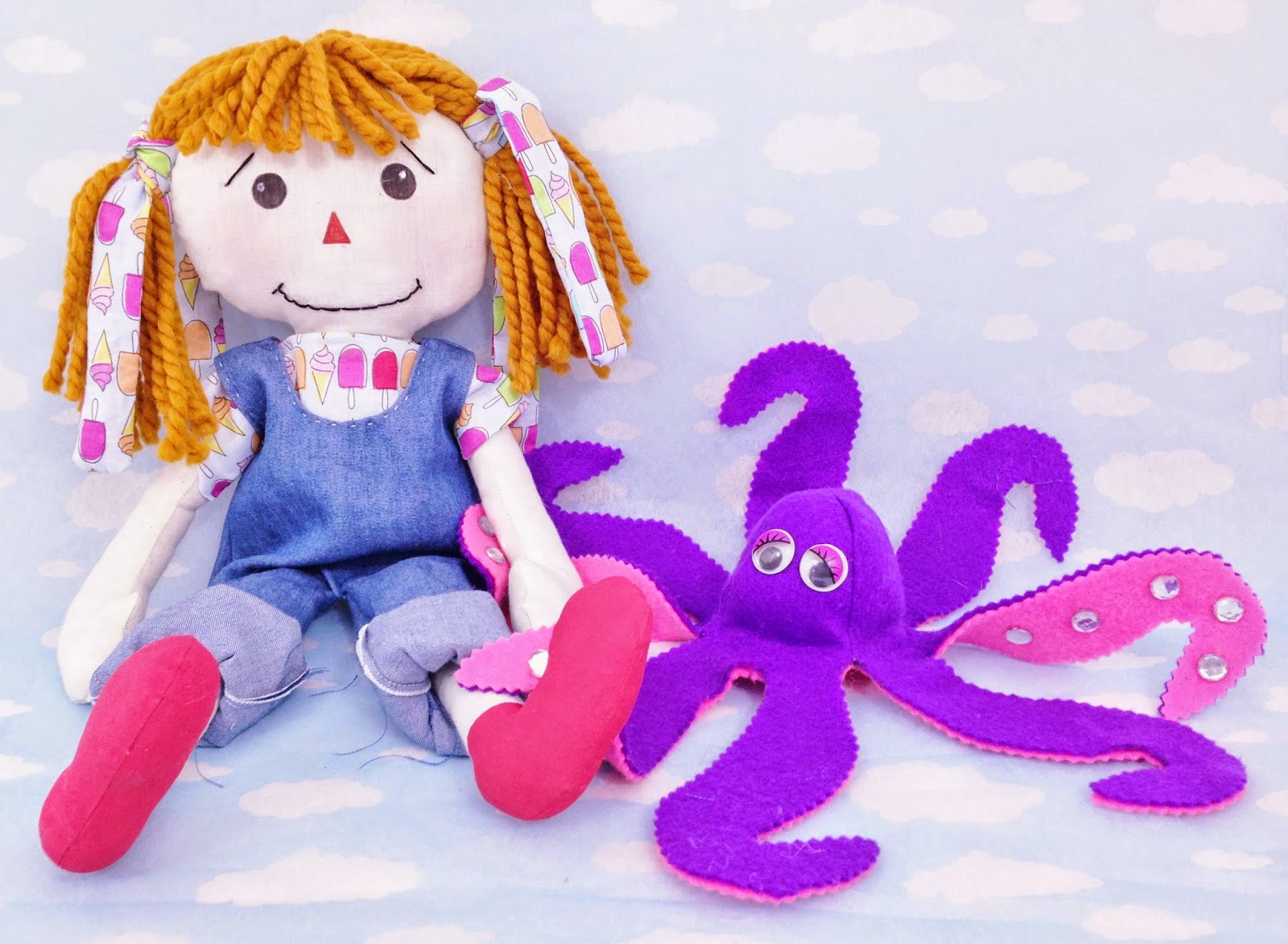 rag doll pattern. octopus sewing pattern