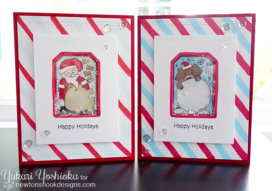 Santa and Bear Shaker Cards by Yukari Yoshioka | Jolly Tags Stamp and Die Set by Newton's Nook Designs #newtonsnook