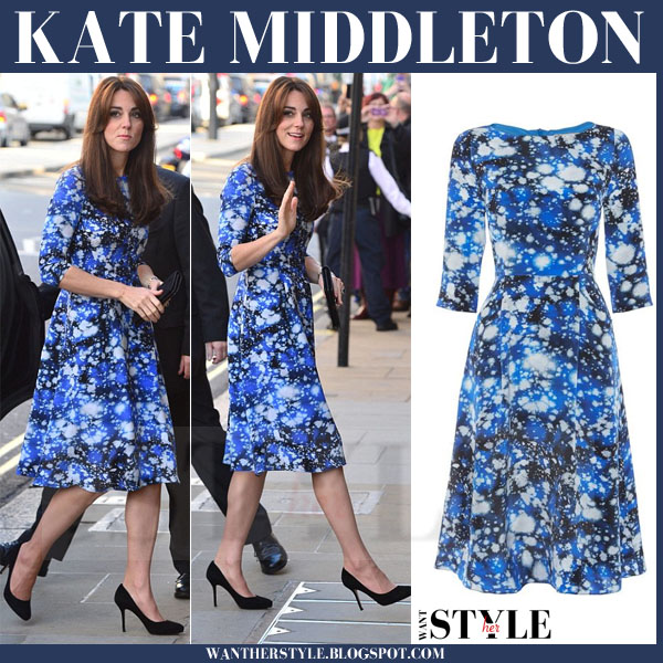 Kate Middleton in blue print dress tabitha webb and jimmy choo suede pumps what she wore