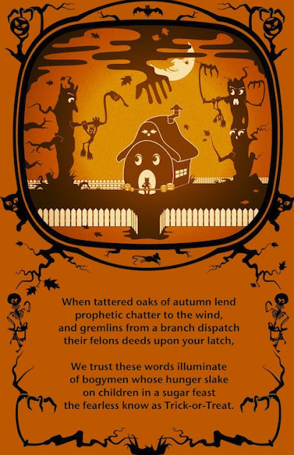 Trick or Treat Halloween Poem with Haunted Trees, Moon, Pumpkins, and a Mouse in a House with Spooky Skeleton, Cat, and Pumpkin Border Dingbats